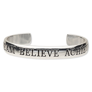 bracelet, cuff, silver-plated brass, 11mm wide with dream believe achieve, 7 inches. sold individually.