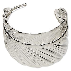 bracelet, cuff, silver-plated steel, 52mm wide with leaf design, 7 inches. sold individually.