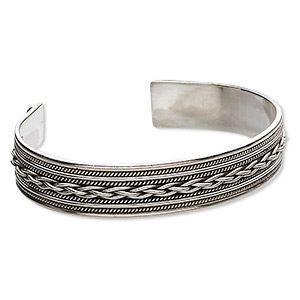 bracelet, cuff, sterling silver, twisted wire, 7 inches. sold individually.