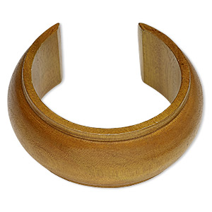 bracelet, cuff, wood (dyed / waxed), light brown, 35mm wide hand-carved domed band, 7-1/2 inches. sold individually.