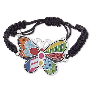 bracelet, enamel / waxed cotton cord / stainless steel, multicolored, 44x33mm butterfly, adjustable from 6-1/2 to 10-1/2 inches with macrame knot closure. sold individually.
