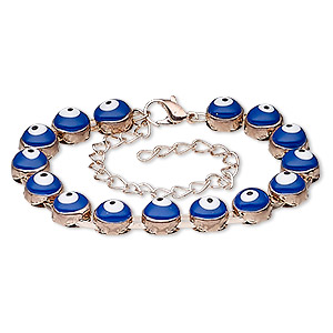 bracelet, enamel and rose gold-finished steel, blue / white / black, 8mm wide with 8mm round and wards off the evil eye design, 6 inches with 3-1/2 inch extender chain and lobster claw clasp. sold individually.