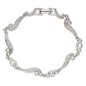bracelet, epoxy / swarovski crystals / rhodium-plated pewter (zinc-based alloy), white and crystal clear with glitter, 6.5mm wide with scroll design, 7 inches with fold-over clasp. sold individually.