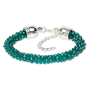 bracelet, glass / silver-coated plastic / silver-plated steel / pewter (zinc-based alloy), teal green, 7.5mm wide, 7 inches with 2-inch extender chain and lobster claw clasp. sold individually.