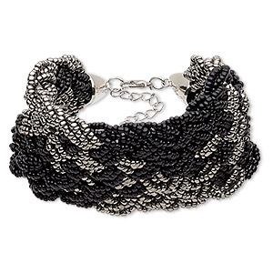 bracelet, glass / silver-coated plastic / silver-plated steel / pewter (zinc-based alloy), black and grey, 50mm wide with woven design, 7 inches with 2-inch extender chain and lobster claw clasp. sold individually.