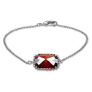 bracelet, glass and rhodium-plated brass, red, 19x19mm beaded square, 7-1/2 inches with lobster claw clasp. sold individually.