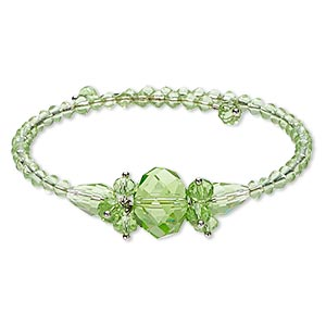 bracelet, glass and steel, green, 16mm wide with bicone, 7-inch adjustable. sold individually.