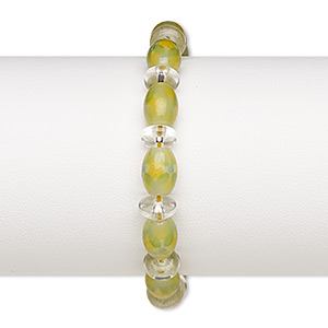 bracelet, glass and waxed cotton cord, yellow / green / clear, 8x4mm-9x4mm rondelle and 11x8mm oval with flower design, adjustable from 5-1/2 to 8 inches with macrame knot closure. sold individually.
