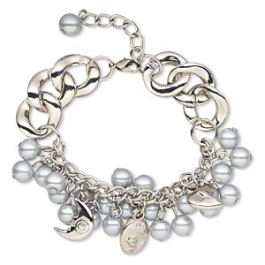 bracelet, glass pearl / silver-coated plastic / silver-plated steel, grey, round, 6-1/2 inches with 1-1/4 inch extender chain and lobster claw clasp. sold individually.