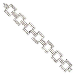 bracelet, glass rhinestone with imitation rhodium-finished brass and steel, clear, 22x18mm rectangle, 7-1/2 inches with fold-over clasp. sold individually.