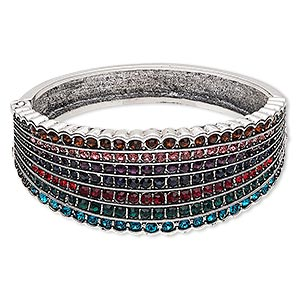 bracelet, hinged bangle, glass rhinestone with antique silver-finished steel and pewter (zinc-based alloy), multicolored, 28mm wide with 7-row channel set and key design, 6 inches. sold individually.