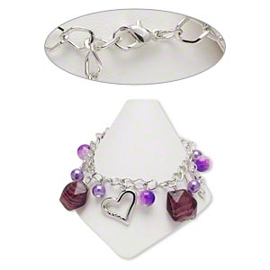 bracelet, lampworked glass / imitation rhodium-coated plastic / imitation rhodium-plated steel, purple, 8-15mm assorted shapes, 8 inches with 2-inch extender chain and lobster claw clasp. sold individually.