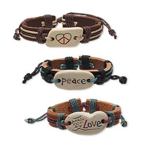 bracelet, leather (dyed) / cotton / ceramic, multicolored, 12mm wide with peace sign / peace / love, adjustable from 6-9 inches with knot closure. sold per pkg of 3.