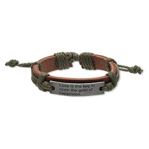 bracelet, leather (dyed) / waxed cotton cord / antiqued pewter (zinc-based alloy), brown and green, 12mm wide with 41x10mm rectangle with love is the key to open the gate of happiness, adjustable from 5-1/2 to 8 inches with wrapped knot closure. sold per pkg of 2.