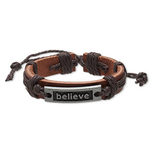 bracelet, leather (dyed) / waxed cotton cord / antiqued pewter (zinc-based alloy),  brown, 12mm wide with 36x10mm rectangle with believe, adjustable from 6 to 8-1/2 inches with knot closure. sold per pkg of 2.