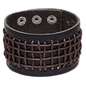 bracelet, leather (dyed) / waxed cotton cord / imitation rhodium-plated steel, black and brown, 46mm wide, adjustable from 6 to 7-1/2 inches with double snap closure. sold individually.