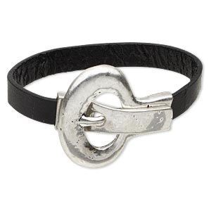 bracelet, leather (dyed) and antique silver-plated pewter (zinc-based alloy), black, 10mm wide, 6-1/2 inches with 40mm magnetic buckle-style closure. sold individually.