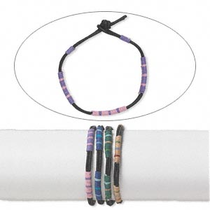 bracelet, leather (dyed) and cotton, multicolored, 7 inches with button clasp. sold per pkg of 4.