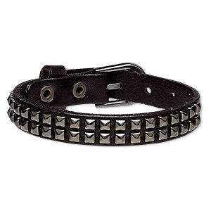 bracelet, leather (dyed) and gunmetal-plated steel, black, 13mm wide with square studs, adjustable from 5-1/2 to 7 inches with buckle-style closure. sold individually.
