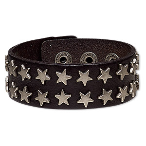 bracelet, leather (dyed) and silver-plated steel, black, 27mm wide with star studs, adjustable from 5-1/2 to 7 inches with snap closure. sold individually.