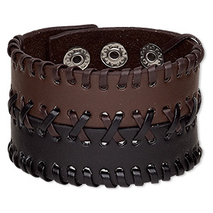 bracelet, leather (dyed) and silver-plated steel, brown and black, 46mm wide with laced design, adjustable from 5 to 6-1/2 inches with double snap closure. sold individually.