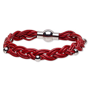 bracelet, leather (dyed) and stainless steel, red, 11mm wide braided with 5mm round, 7 inches with magnetic clasp. sold individually.