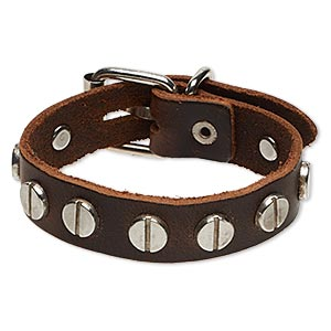 bracelet, leather (dyed) with imitation rhodium-plated steel and pewter (zinc-based alloy), brown, 15mm wide with round studs, adjustable at 6 and 7 inches with buckle-style closure. sold individually.