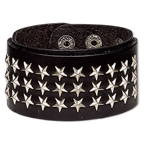 bracelet, leather (dyed) with silver-plated steel and pewter (zinc-based alloy), black, 41mm wide with star studs, adjustable from 6-1/2 to 8-1/2 inches with double snap closure. sold individually.