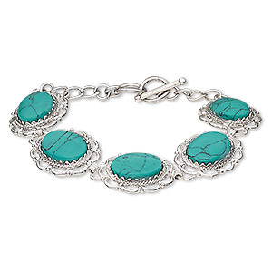 bracelet, magnesite (dyed / stabilized / coated) with silver-plated brass and steel, turquoise green, 23x19mm oval, 6-1/2 and 7 inches with toggle clasp. sold individually.