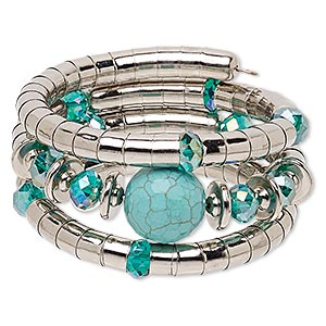 bracelet, magnesite (dyed / stabilized) / silver-coated plastic / imitation rhodium-plated steel, turquoise blue ab and blue, 37mm wide with round, 7-inch adjustable. sold individually.