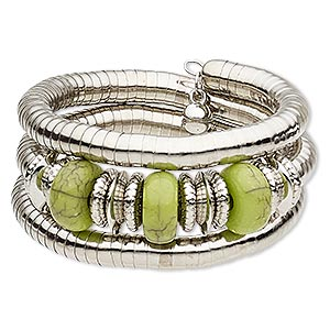 bracelet, magnesite (dyed / stabilized) / steel memory wire / silver-coated plastic / silver-plated steel, green, 33mm wide spiral, 7-inch adjustable. sold individually.