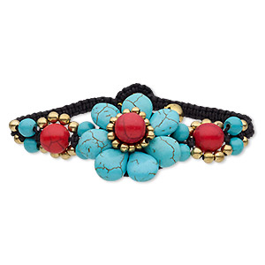 bracelet, magnesite (dyed / stabilized) / waxed cotton cord / brass / brass-plated steel, black / blue / red, 33mm wide with flower and bells, adjustable at 6 and 7 inches with button clasp. sold individually.