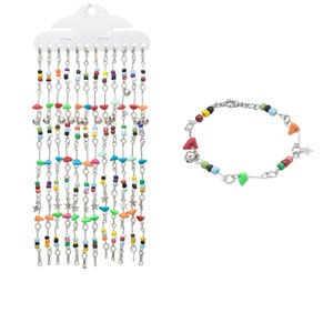 bracelet mix, acrylic / glass / imitation-rhodium-finished steel, mixed colors, 9mm wide with chip, 7 inches with springring clasp. sold per pkg of 12.