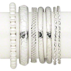 bracelet mix, bangle, nylon / plastic pearl / imitation rhodium-plated steel, white, 2-12mm wide with mixed design, 2-1/2 inch inside diameter. sold per pkg of 7.