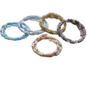 bracelet mix, cats eye glass / steel memory wire / silver-coated plastic, mixed colors, 16mm wide, 7 inches. sold per pkg of 5.