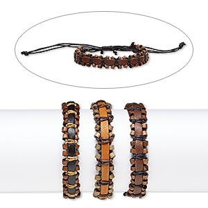 bracelet mix, leather (dyed) / stained wood / waxed cotton cord, mixed colors, 13mm wide, adjustable from 6-9 inches with knot closure. sold per pkg of 3.