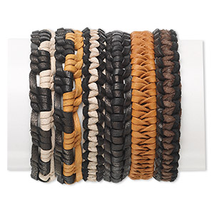 bracelet mix, leather (natural / dyed), mixed colors, 11mm wide, adjustable from 7-8 inches with tie closure. sold per pkg of 6.