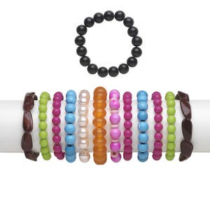 bracelet mix, stretch, acrylic / glass / resin, mixed colors, 3-30mm wide with mixed shape, 6 inches. sold per pkg of 12.