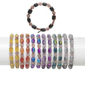 bracelet mix, stretch, acrylic / resin / glass, mixed colors, 8x7mm-10x7mm mixed shape, 6 inches. sold per pkg of 12.