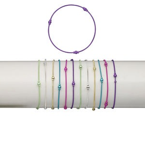 bracelet mix, stretch, brass and plastic, mixed colors, coil with 2.5mm and 4mm round, 7 inches. sold per pkg of 12.