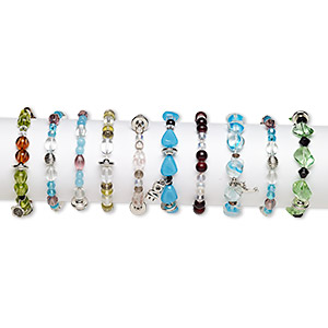 bracelet mix, stretch, glass / steel / mix-coated plastic, multicolored, 3-16mm multi-shape, 7 inches. sold per pkg of 10.
