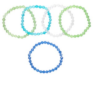 bracelet mix, stretch, glass, multicolored, 7x6mm-7x7mm faceted bicone, 7 inches. sold per pkg of 5.