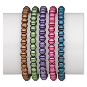 bracelet mix, stretch, glass pearl, mixed colors, 6mm round, 6 inches. sold per pkg of 5.