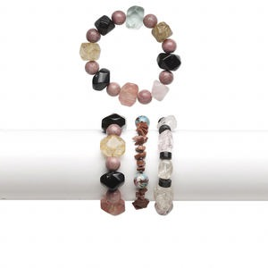 bracelet mix, stretch, multi-gemstone and glass (natural / dyed / heated / man-made), multicolored, 4mm to 20x15mm mixed shape, 6-1/2 inches. sold per pkg of 3.