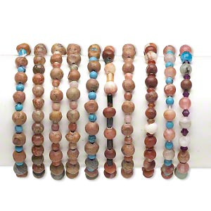 bracelet mix, stretch, multi-gemstone (natural / dyed / heated / imitation) / glass / acrylic, multicolored, 4mm-30x20mm multi-shape, 6 inches. sold per pkg of 10.