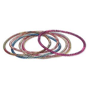 bracelet mix, stretch, painted steel, multicolored, 3mm twisted coil, 7 inches. sold per pkg of 6.