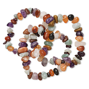 bracelet, multi-agate (natural), small to large hand-cut pebble, 6 inches. sold per pkg of 3.