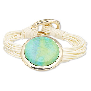 bracelet, multi-strand, waxed cotton cord / resin / gold-finished pewter (zinc-based alloy), white / blue / green, 40mm round, 7-1/2 inches with buckle-style closure. sold individually.