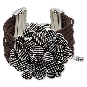 bracelet, multi-strand, waxed cotton cord with antique silver-finished steel and pewter (zinc-based alloy), brown, 40mm wide with 52mm textured round design, 6-1/2 inches with 1-inch extender chain and lobster claw clasp. sold individually.