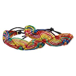 bracelet, nylon, multicolored, 18mm wide with macrame design, adjustable from 8-10 inches with tie closure. sold per pkg of 2.